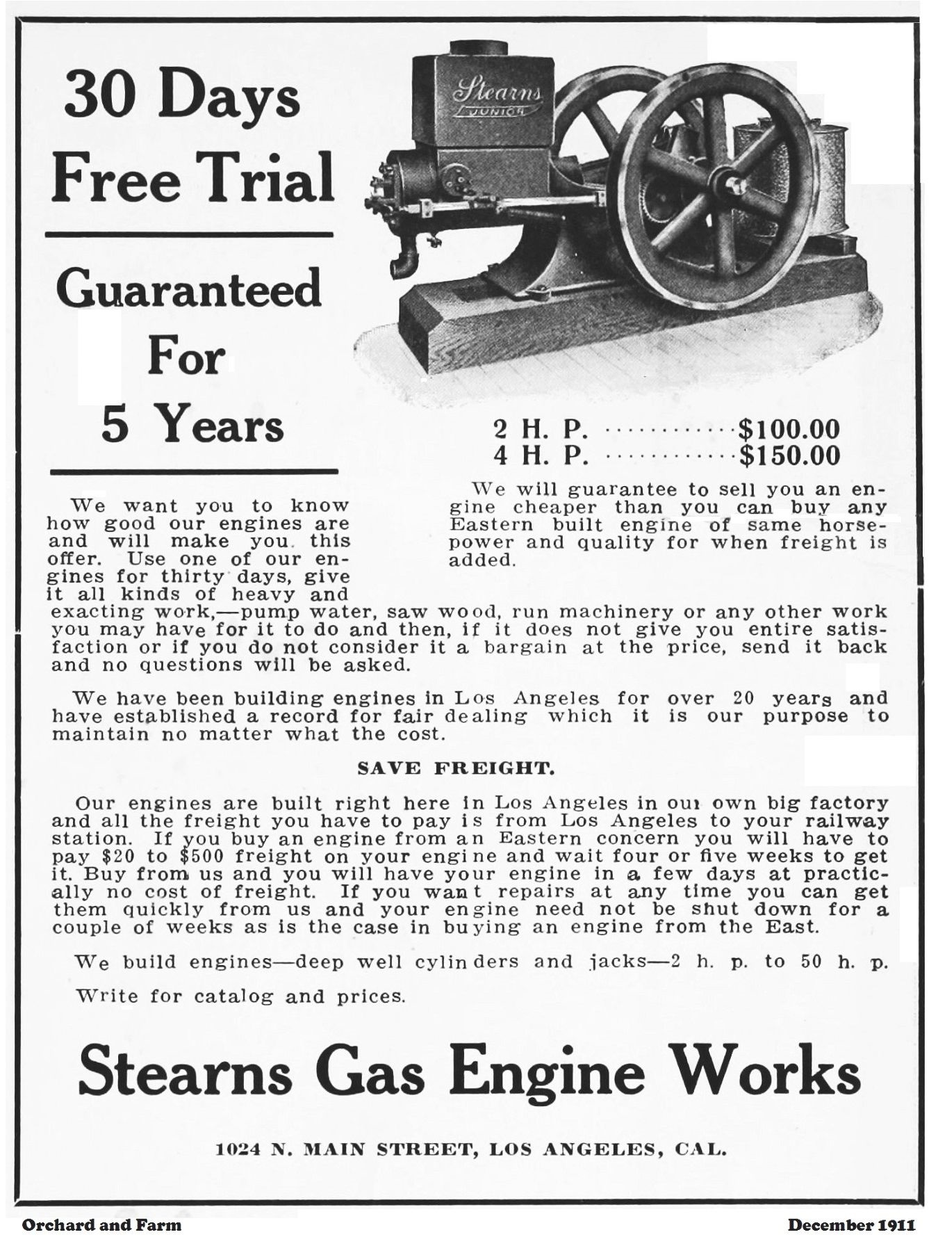 Stearns Gas Engine Works, Los Angeles, Cal  - SmokStak